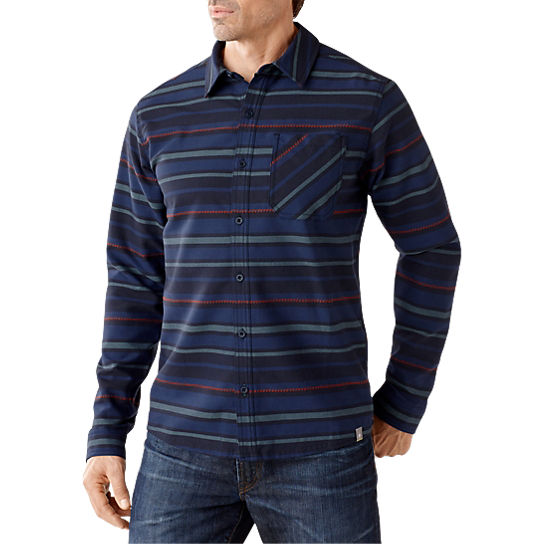 Smartwool men 39 s akalii striped flannel shirt merino wool for Merino wool shirts for travel