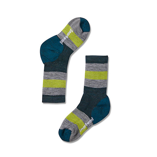 Kids' Striped Medium Crew Hiking Socks