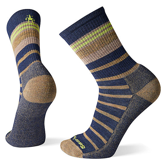 Men's Striped Light Hiking Crew Socks