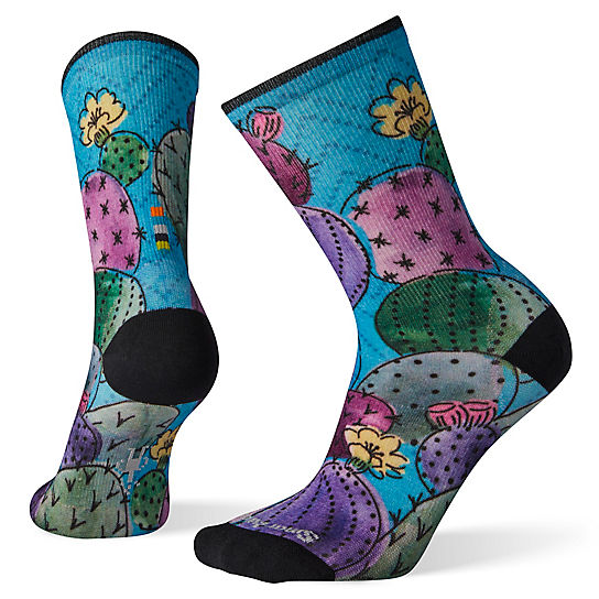 Women's Curated Cactus and Flowers Print Crew Socks