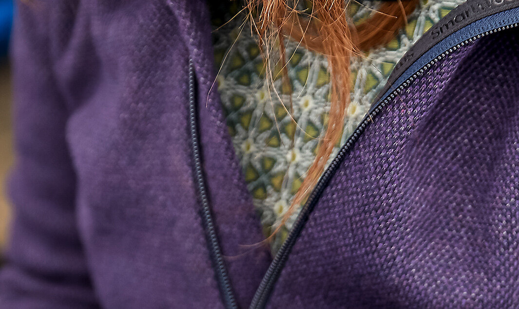 Many Smartwool jackets utilize both recycled fibers and natural fabric